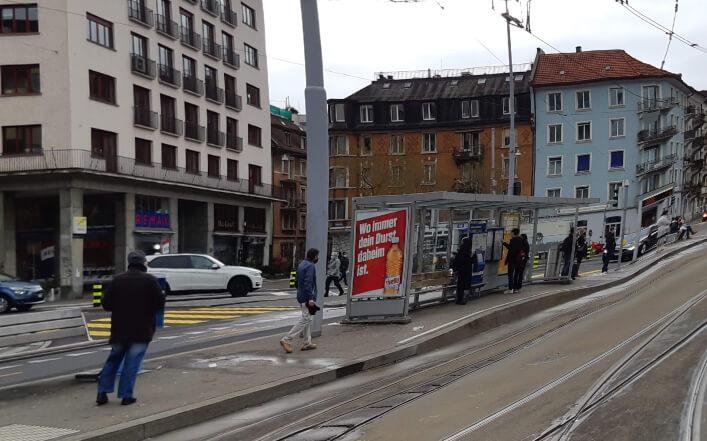 Tramhaltestelle, Schimmerlstrasse, Wiedikon