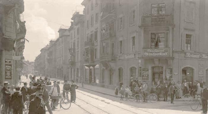 Altes Foto der Langstrasse, Tram 1