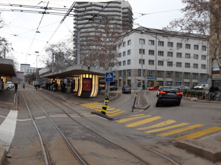 Limmatplatz, Tramgleis, Migros-Turm